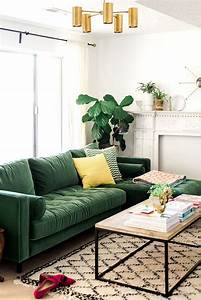 Living Room : Green And Gold Interior With Modern Eclectic