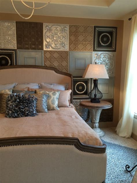 Fake tin tile headboard wall treatment   decor ideas