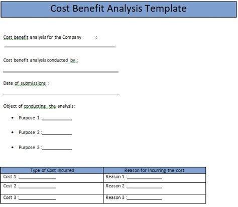 business cost benefit analysis template