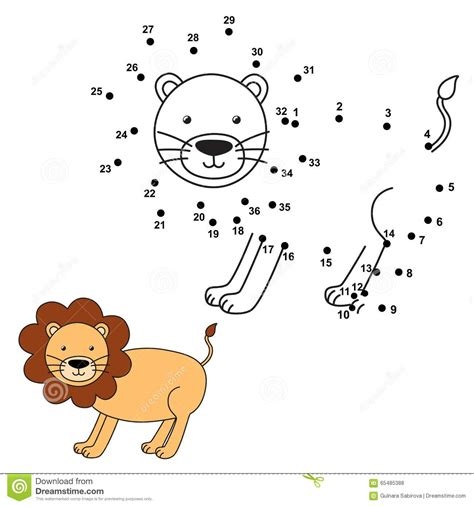 Connect The Dots Lion Cartoon Vector Cartoondealercom