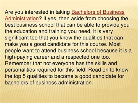 qualities for a candidate top 5 qualities of bachelors degree in business administration candid