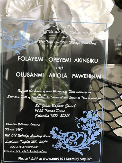 clear acrylic wedding invitation acrylic wedding