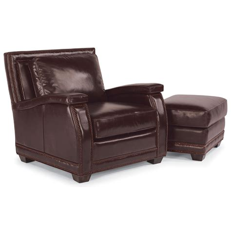flexsteel latitudes raleigh leather chair and ottoman with