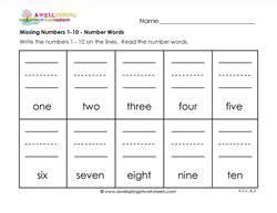 missing numbers   number words kindergarten number