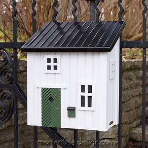 Boite Lettres En Forme De Maison En Bois Blanc Poststuga