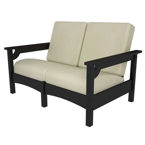 Sunbrella Settee Cushions by Polywood Club Black Plastic Patio Settee With Sunbrella
