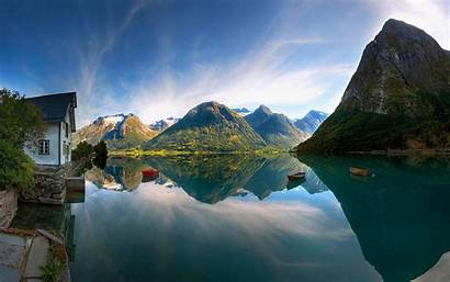 Cabin Dorf Lake Natur Desktop Backgrounds Wallpapers