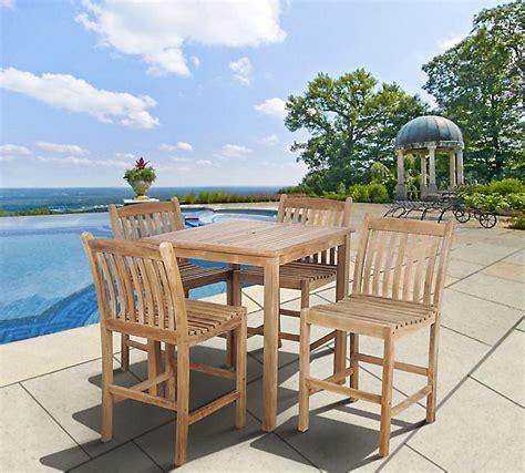 amazonia clifton 5 square teak wood patio bar set