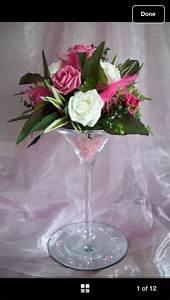 Martini Glass Flower Arrangement Party39s Pinterest