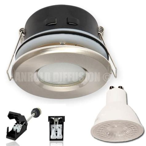 spot led salle de bain ip65 acier 7w rendu 50w 110 176 blanc chaud 230v