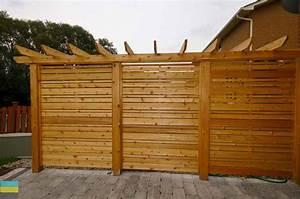 Interlocking patio, cedar privacy screen and pergola - M E