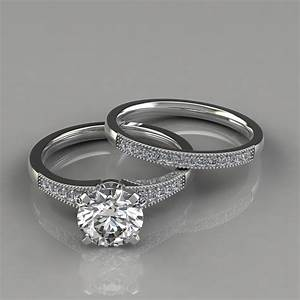 Graduated Milgrain Engagement Ring And Wedding Band Set