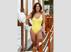 Vicky Pattison in a Yellow Swimsuit in Majorca 10052017