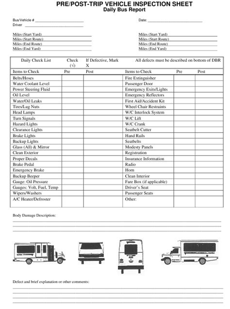 prepost trip vehicle inspection sheet  printable