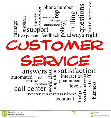 Customer Service Word Cloud Concept In Red Caps Royalty