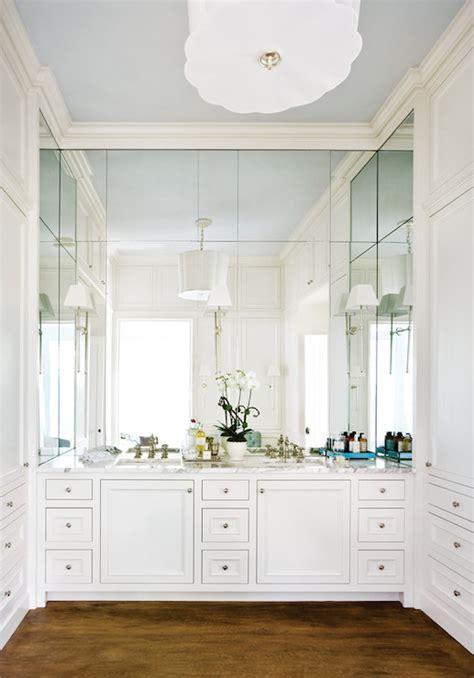 mirrored backsplash transitional bathroom atlanta