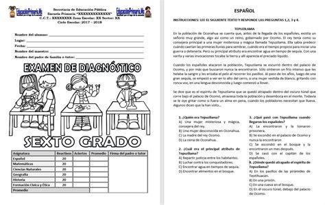 examen de primaria quinto grado gratis y actualizados examen de diagn 243 stico sexto grado ciclo escolar