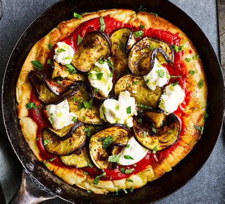 frying pan pizza  aubergine ricotta mint recipe