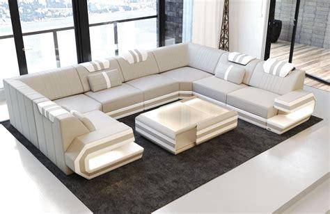 Luxury Sofa San Antonio U Shaped Beigewhite