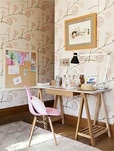 Chambre Fille Scandinave : chambre ado d co chambre ado fille scandinave bureau en bois papier peint motif floral ~ Melissatoandfro.com Idées de Décoration