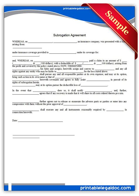 Free Printable Subrogation Agreement Form (GENERIC