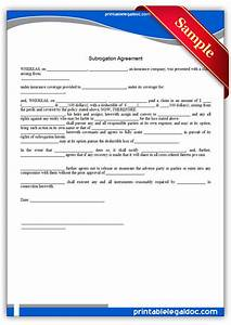free printable subrogation agreement form generic With legal document preparation business for sale