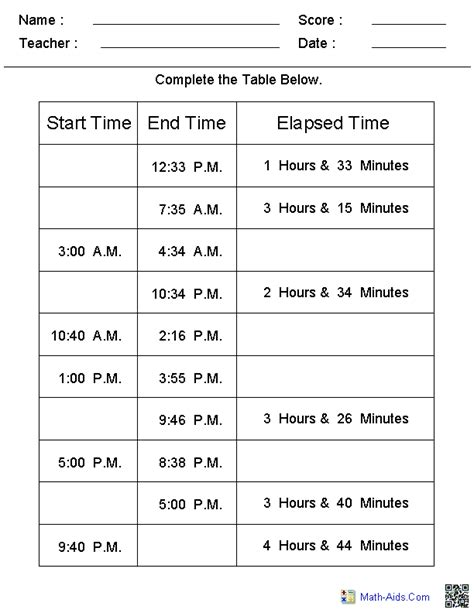 time worksheets math time fourth grade math