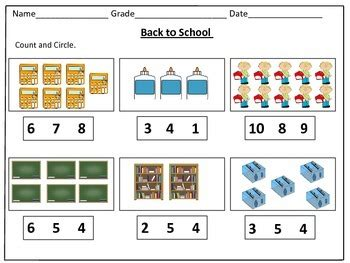 back to school counting worksheets 1 20 by learning basket