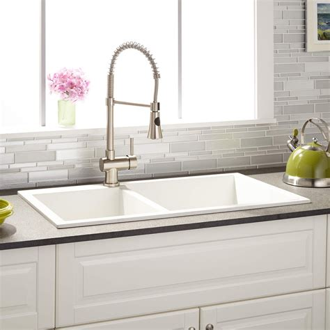 white granite composite sink 34 quot sabelle 60 40 offset double bowl drop in granite