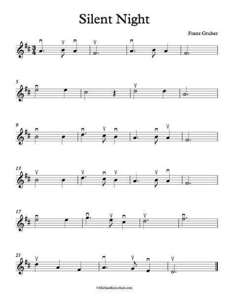 This is an easy song and requires practice. Free Violin Sheet Music - Silent Night - Michael Kravchuk