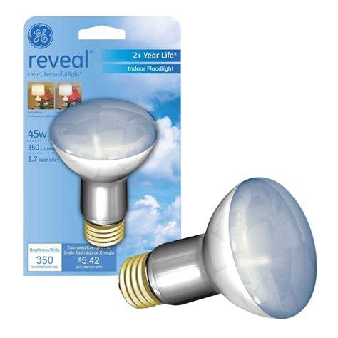 ge reveal 45 watt halogen r20 indoor flood light bulb