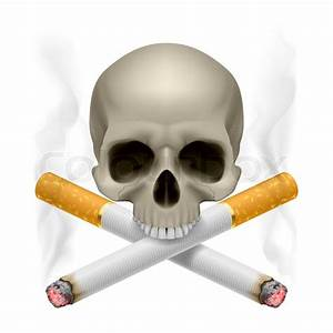Skull With Crossed Cigarettes As Symbol Of Smoking Danger
