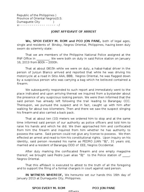 2. Affidavit of Arrest Illegal Firearms 2 | Arrest | Law