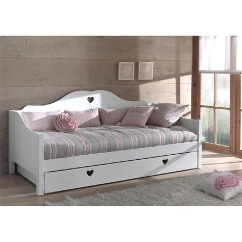 canapé lit 1 place canapé lit princesse 1place mdf blanc cœur achat