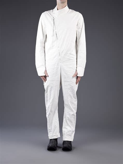 mens jumpsuit boris bidjan saberi crinkled linen jumpsuit in white for