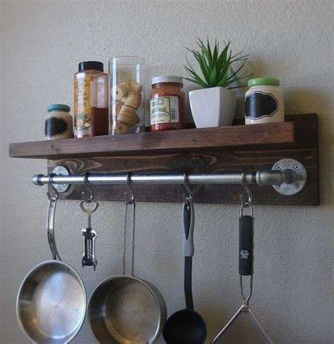 Pan Shelf With Hooks by Industrial Rustic Kitchen Wall Shelf Spice Rack With 24