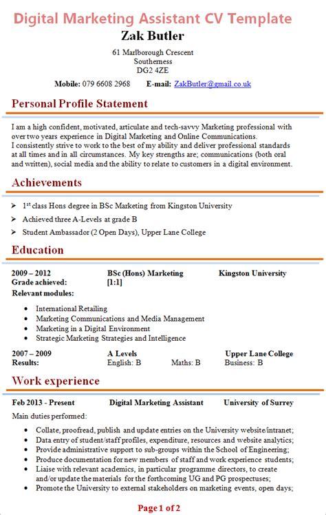 digital marketing assistant cv