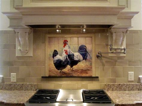 kitchen tile backsplash murals rooster tiles kitchen backsplash tiles black rooster and hen tile mural