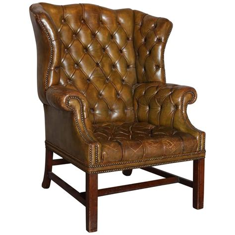 distressed leather armchair antique distressed leather wing chair at 1stdibs 3380