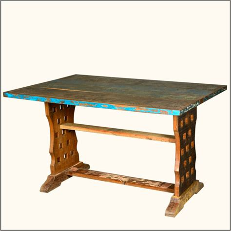 distressed wood dining table distressed reclaimed wood rustic trestle kitchen dining