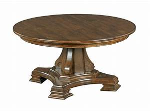 kincaid furniture portolone round solid wood cocktail With round wood pedestal coffee table