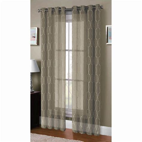 Window Elements Sheer Boho Embroidered Sheer Faux Linen 96