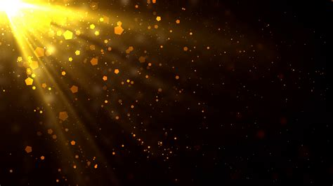 Bright Golden by Golden Light Rays Particles Motion Background