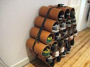 Rangement Chaussures Original : rangements pour chaussures fabriqu s partir de tubes design recyclers ~ Teatrodelosmanantiales.com Idées de Décoration
