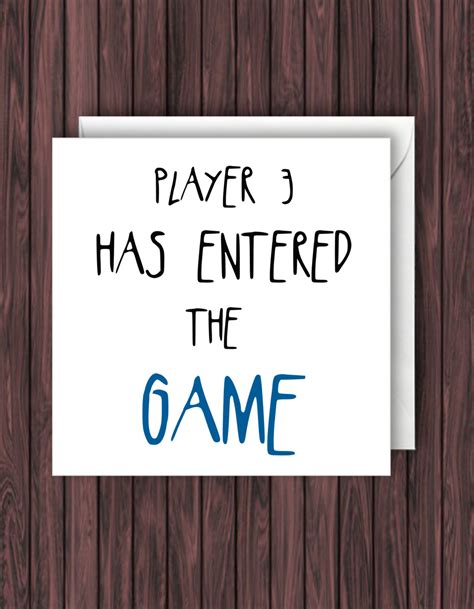 Player 3 Has Entered The Game Funny Baby Announcement Card