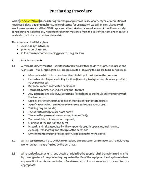 Purchasing Policies And Procedures Template by Hr Advance Purchasing Procedure