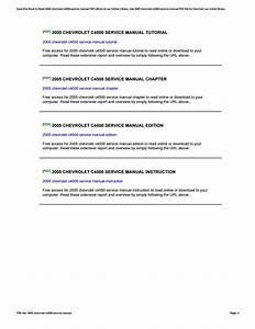 2005 Chevrolet C4500 Service Manual By Nancyrice3876