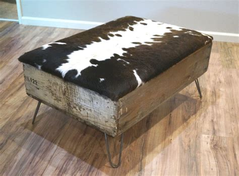 cowhide coffee table ottoman display cabinet