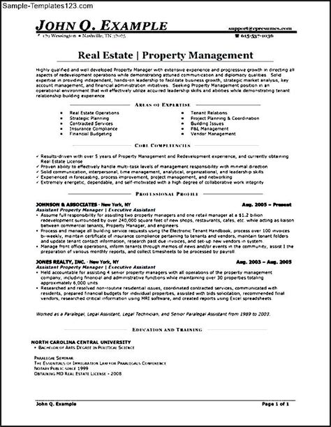 Exle Resumes For Assistant Property Managers by Assistant Property Manager Resume Template