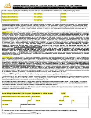 sky zone waiver form fillable online pdf waiver sky zone fax email print